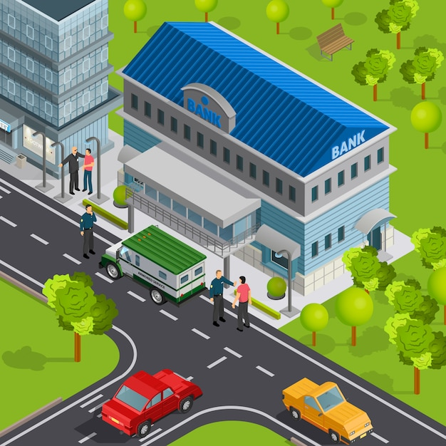 Isometric bank exterior with cars Free Vector