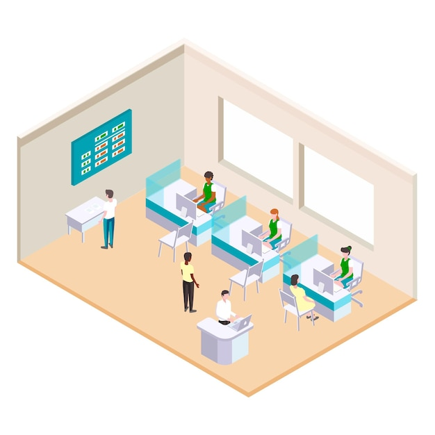 Isometric bank illustration with workers Free Vector