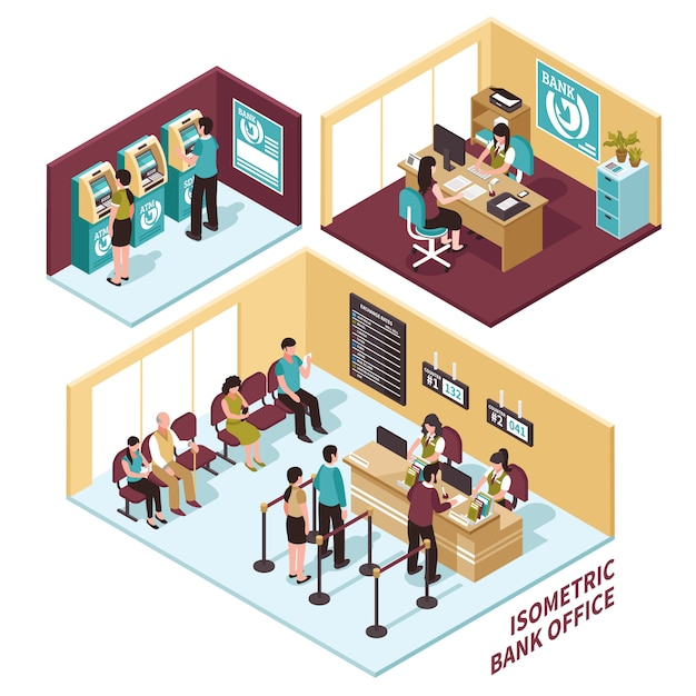 Isometric bank office composition Free Vector