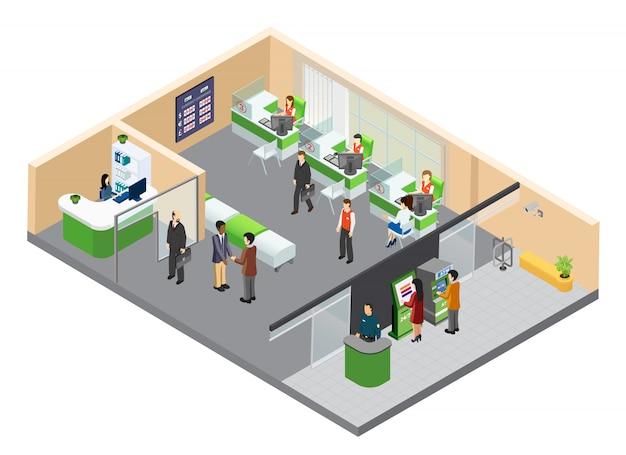 Isometric bank office illustration Free Vector