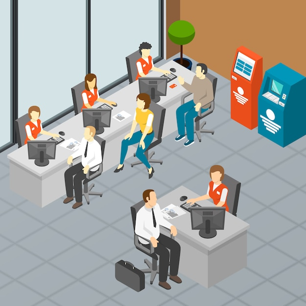 Isometric bank office Free Vector