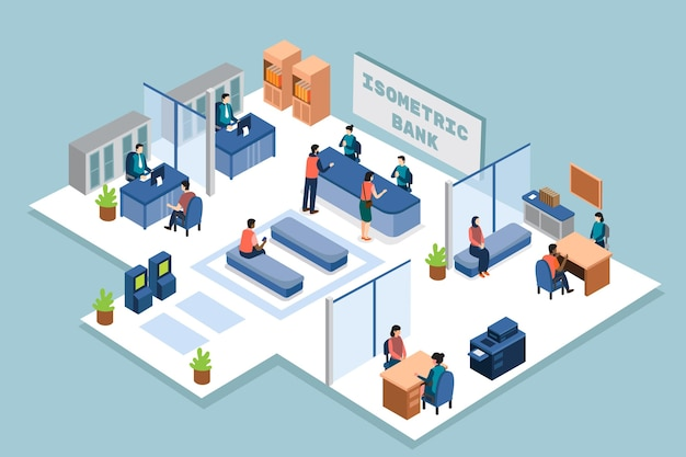 Isometric bank with clients Premium Vector