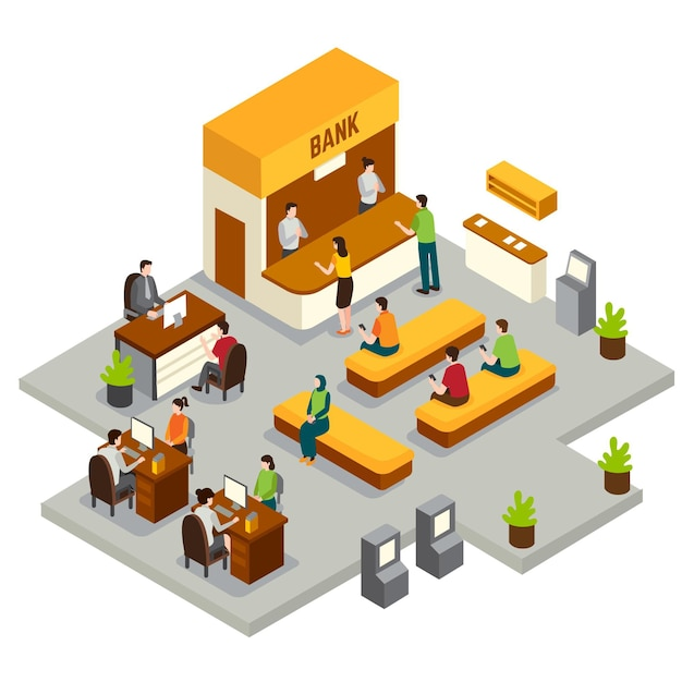 Isometric bank with workers Free Vector