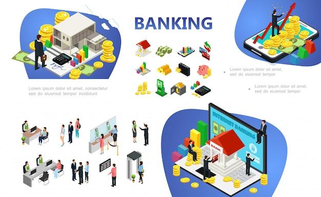 金融要素とオブジェクトビジネスマンオンライン決済クライアント銀行従業員と等尺性銀行構成 無料ベクター