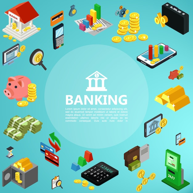 Isometric banking elements composition with building mobile payment gold bars coins money safe deposit atm machine credit cards calculator piggy bank Free Vector