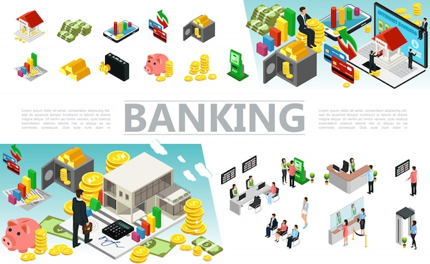 Isometric banking elements set with money payment cards safe case coins gold bars atm machine bank workers and clients in different situations Free Vector