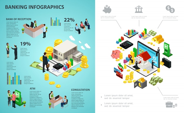 Isometric banking process infographic with online payments money coins gold bars calculator clients bank workers Free Vector