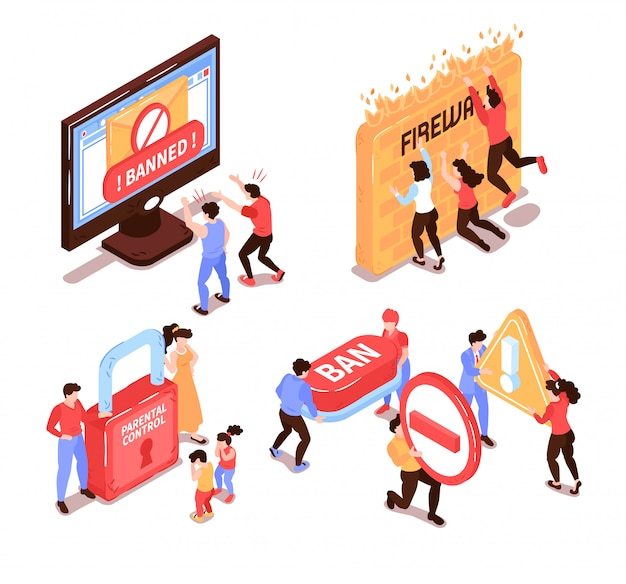 Isometric banned website design concept with human characters and conceptual icons pictograms with computer electronic devices vector illustration Free Vector