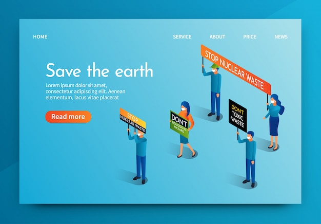Isometric banner people meeting for save the earth Premium Vector