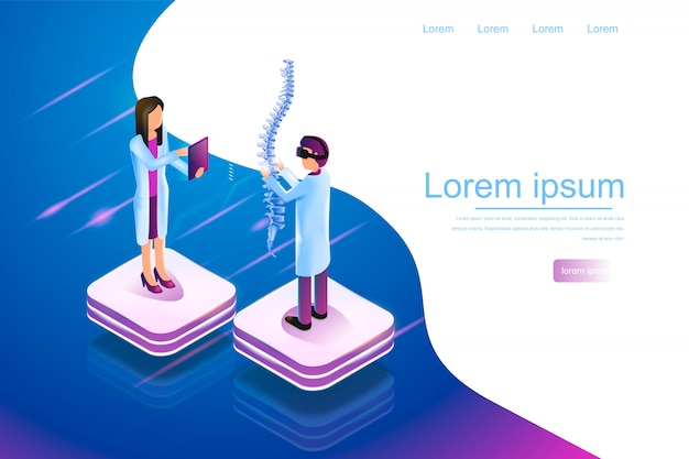 Isometric banner virtual reality in medicine 3d Premium Vector