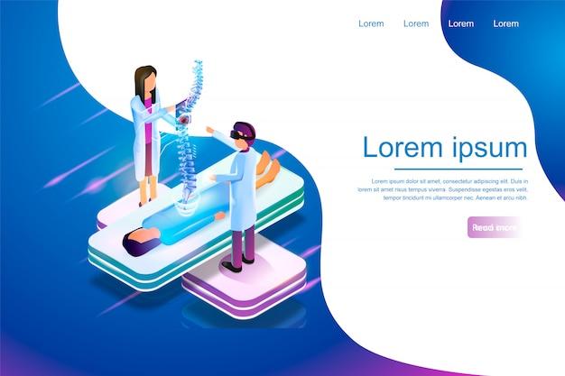 Isometric banner virtual reality in medicine 3d Premium Vector