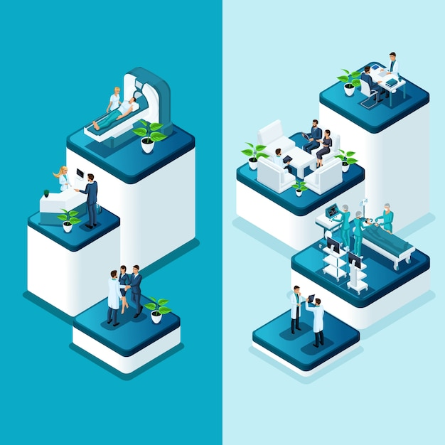 Isometric banners hospital, medical mri scan, operating room with doctors, fluorography process, surgeon office, diagnostics private clinic Premium Vector