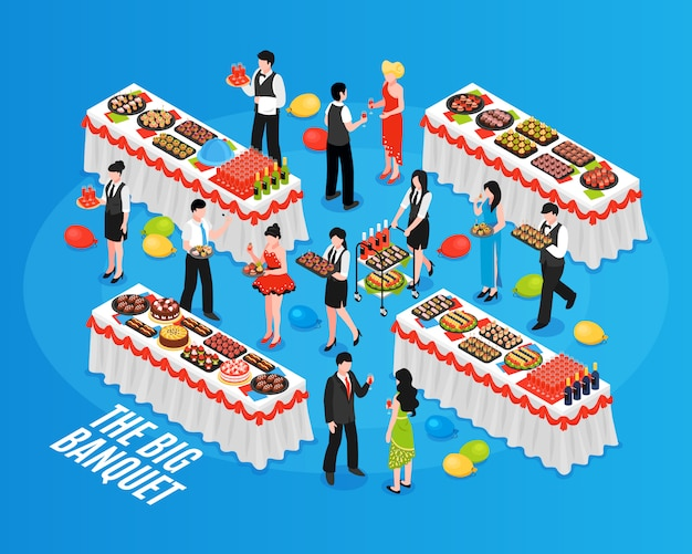 Isometric banquet background composition Free Vector