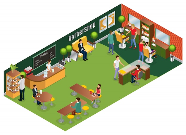 Isometric barber salon concept with hairdressers customers interior elements and coffee shop isolated Free Vector