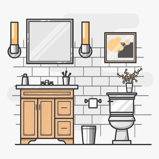 Isometric Bathroom Interior Design Vector