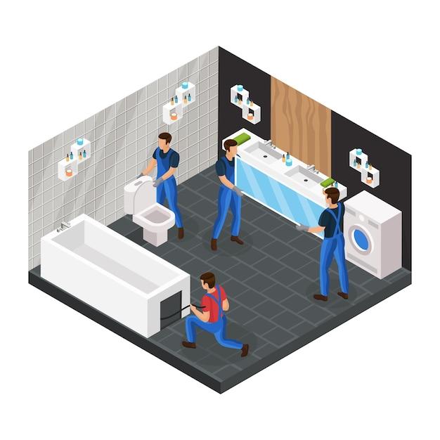Il concetto di ristrutturazione del bagno isometrico con lavoratori professionisti installa il bagno della tazza del water e appende lo specchio Vettore gratuito