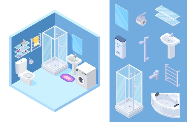 Isometric bathroom set Premium Vector