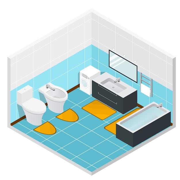 Isometric bathroom and toilet detailed interior.  illustration Premium Vector