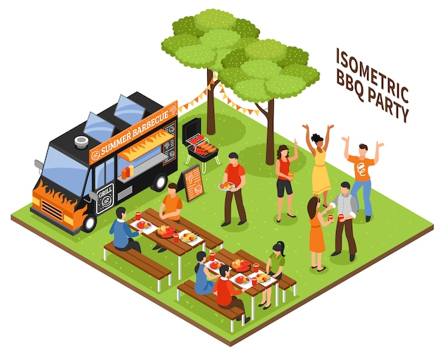 Isometric bbq party Free Vector