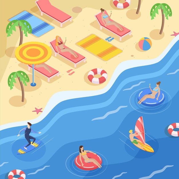 Изометрические пляжная концепция Бесплатные векторы