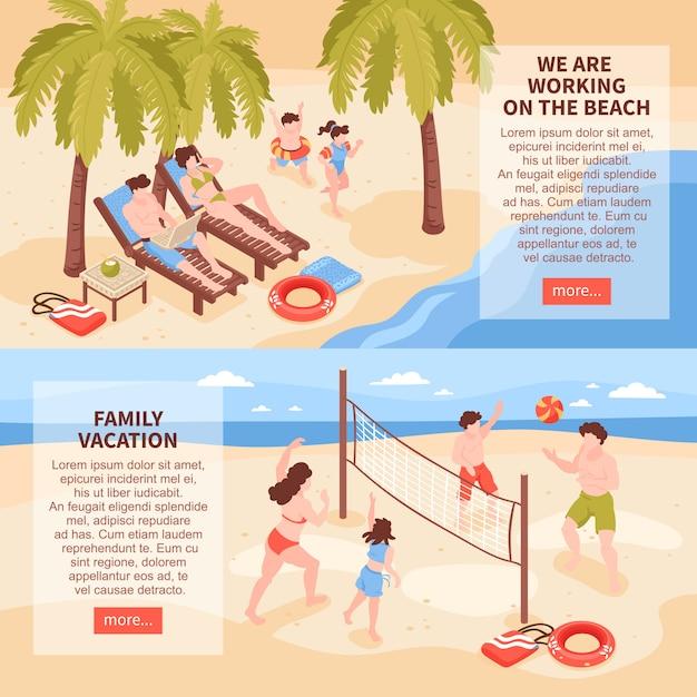 Le insegne orizzontali di feste tropicali della casa di spiaggia isometrica messe con le immagini della famiglia si rilassano Vettore gratuito