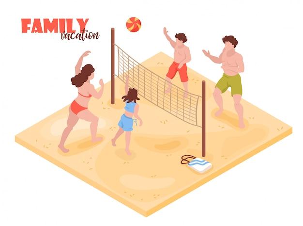Feste tropicali isometriche della casa di spiaggia con i caratteri umani dei membri della famiglia che giocano a pallavolo con l'illustrazione di vettore del testo Vettore gratuito