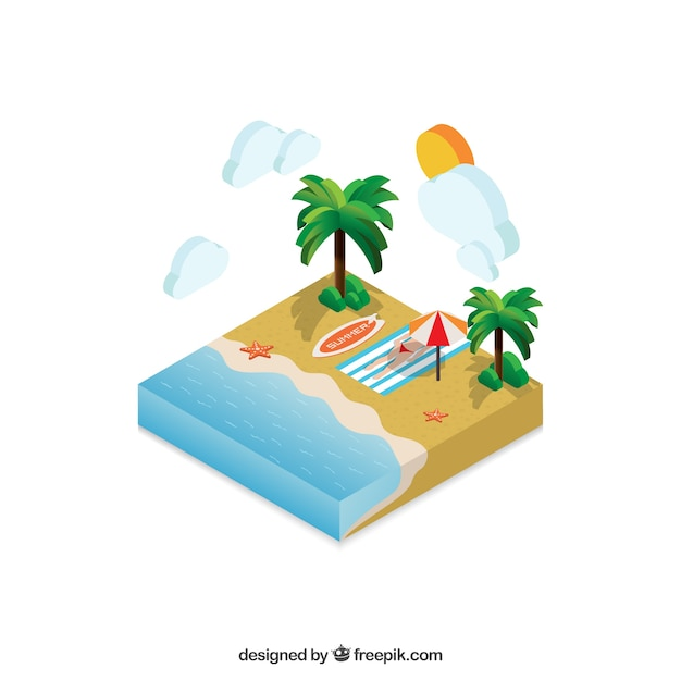 Isometric beach summer landscape