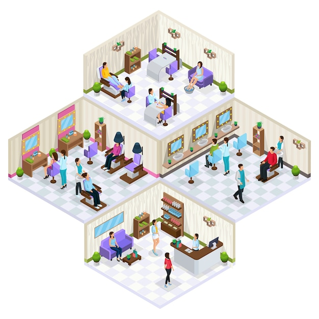 Isometric beauty salon interior concept with furniture people on skin hair care and cosmetology procedures isolated Premium Vector