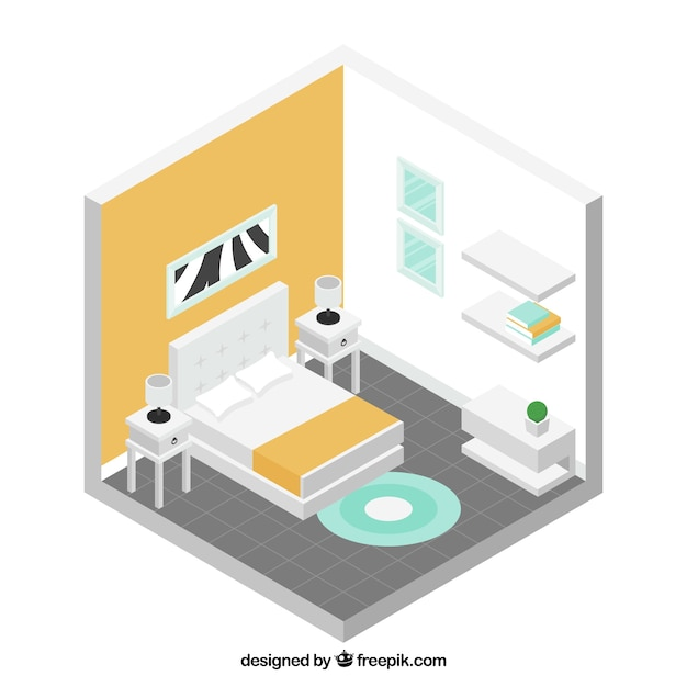 Isometric Bedroom With White Furniture Vector