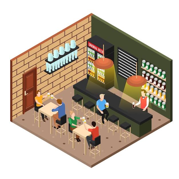 Isometric beer shop Free Vector