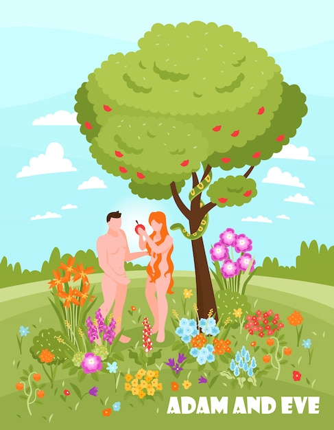 Isometric bible narratives adam and eve vertical  with text and outdoor scenery with naked people Free Vector