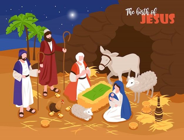 Isometric bible narratives christmas nativity concept banner composition with outdoor composition and human characters with sheeps Free Vector