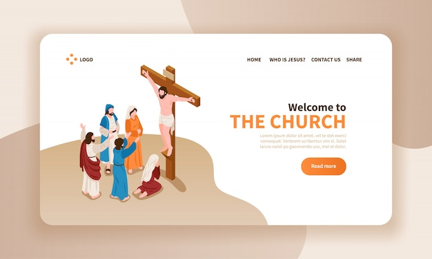 Isometric Bible Narratives Horizontal Banner Landing Page Website Design With Text Christ Crucified And Prayer Characters Free Vector