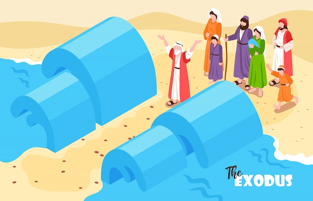Isometric bible narratives horizontal composition with text and noahs flood scenery with water and people characters Free Vector