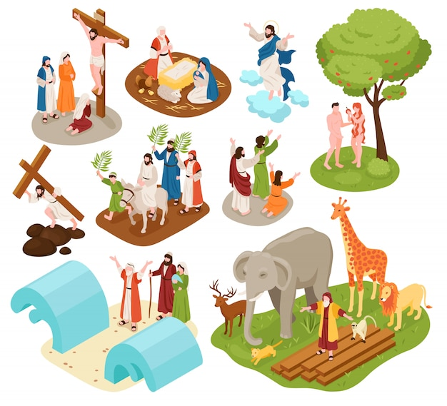 Isometric bible narratives set with ancient christian characters of noah with animals adam eve jesus christ Free Vector