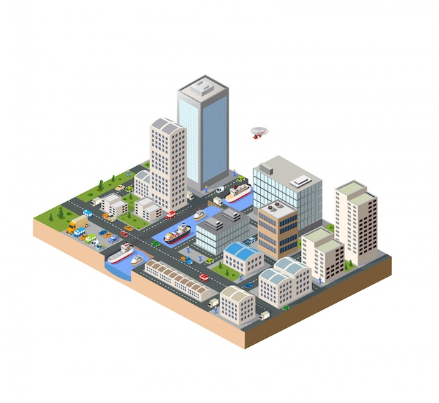 Isometric in a big city with streets, skyscrapers, cars and trees Premium Vector