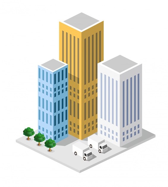 Isometric in a big city with streets, skyscrapers, cars Premium Vector