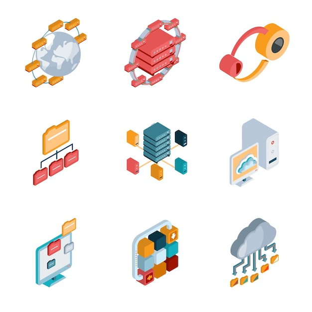 Isometric big data analysis colorful icons on the white background. Free Vector