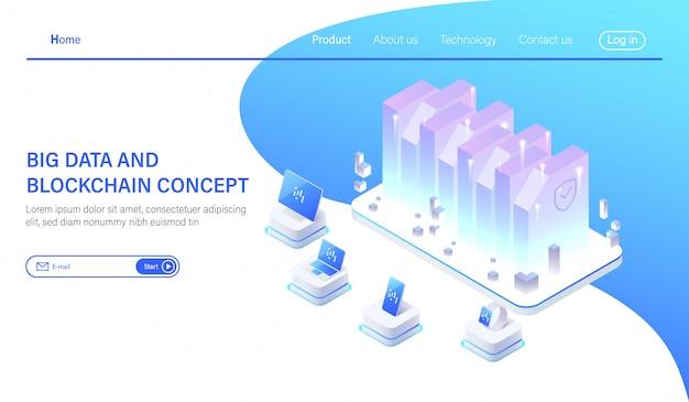 Isometric big data hosting server or data center room Premium Vector