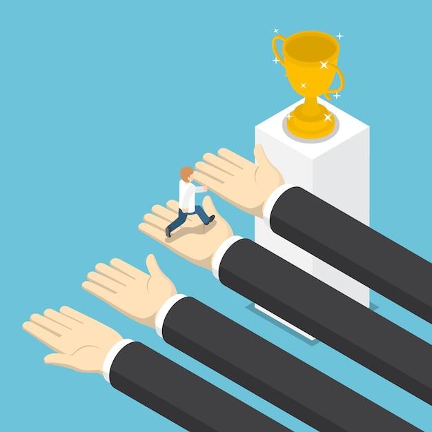 Isometric big hands help businessman to success Premium Vector