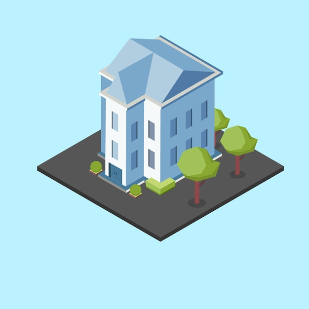 Isometric big house Premium Vector