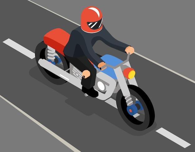 Изометрические байкер на вид сбоку дороги сверху. мотоциклетный транспорт, спорт и скорость, автомобиль и гонщик Бесплатные векторы