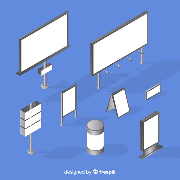 Isometric billboard collection Free Vector