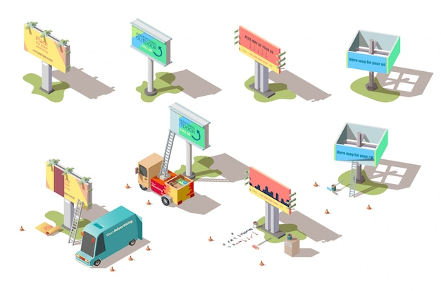 Isometric billboards, advertising street banners Free Vector