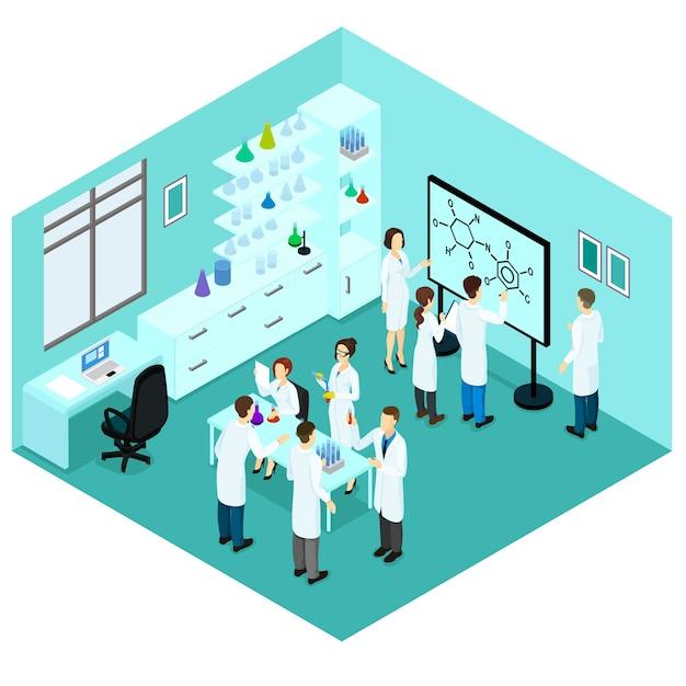 Шаблон изометрической лаборатории биологических наук Бесплатные векторы