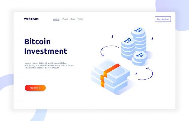 Isometric bitcoin investment banner Premium Vector
