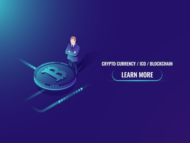 Isometric bitcoin investment and mining, cryptocurrency buy web page Free Vector
