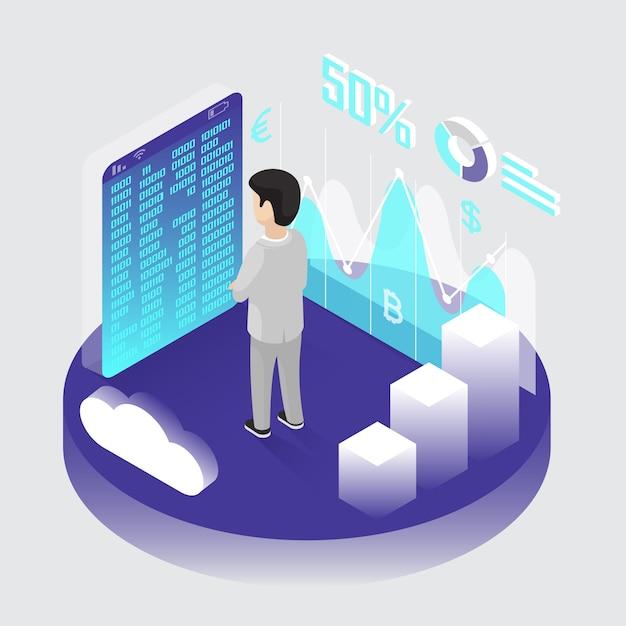 Isometric bitcoin mining Free Vector