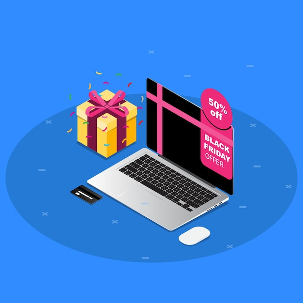 Isometric black friday sale with macbook pro and gift in blue background Premium Vector