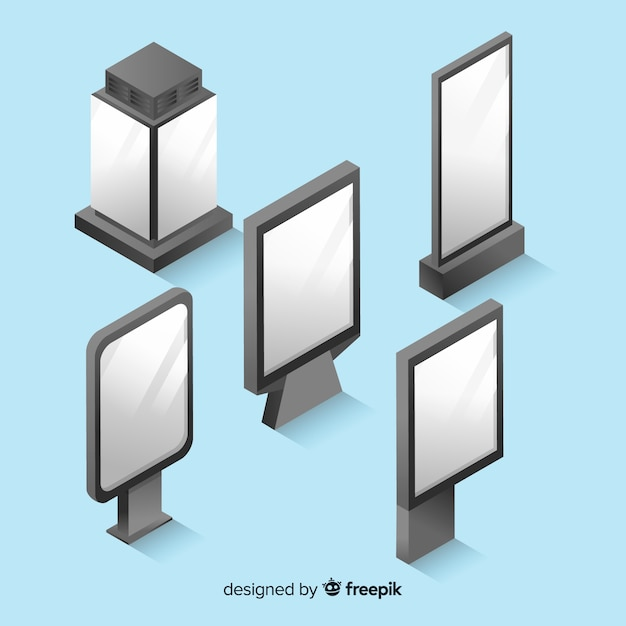 Isometric blank billboard collection Free Vector